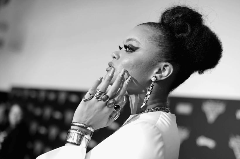 """ANAHEIM, CA - JUNE 10: (EDITORS NOTE: Image has been shot in black and white. Color version not available.) Recording artist Andra Day poses at the World Premiere of Disney/Pixarís ìCars 3"""" at the Anaheim Convention Center on June 10, 2017 in Anaheim, California. (Photo by Charley Gallay/Getty Images for Disney) *** Local Caption *** Andra Day"""