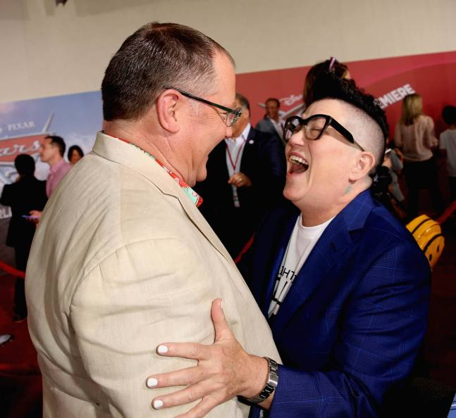 """ANAHEIM, CA - JUNE 10: Producer John Lasseter (L) and actor Lea DeLaria greet each other at the World Premiere of Disney/Pixarís ìCars 3"""" at the Anaheim Convention Center on June 10, 2017 in Anaheim, California. (Photo by Jesse Grant/Getty Images for Disney) *** Local Caption *** John Lasseter;Lea DeLaria"""