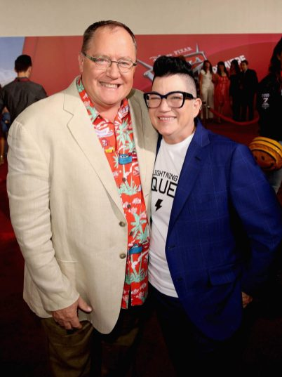 """ANAHEIM, CA - JUNE 10: Producer John Lasseter (L) and actor Lea DeLaria pose at the World Premiere of Disney/Pixarís ìCars 3"""" at the Anaheim Convention Center on June 10, 2017 in Anaheim, California. (Photo by Jesse Grant/Getty Images for Disney) *** Local Caption *** John Lasseter;Lea DeLaria"""