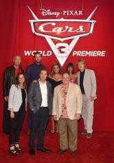 """ANAHEIM, CA - JUNE 10: (L-R top) Producer Kevin Reher, actors Armie Hammer, Cristela Alonzo, Kerry Washington and Owen Wilson (L-R) Co-Producer Andrea Warren, Director Brian Fee and executive producer John Lasseter at the World Premiere of Disney/Pixarís ìCars 3"""" at the Anaheim Convention Center on June 10, 2017 in Anaheim, California. (Photo by Alberto E. Rodriguez/Getty Images for Disney) *** Local Caption *** Kevin Reher;Armie Hammer;Cristela Alonzo;Kerry Washington;Owen Wilson;Andrea Warren;Brian Fee;John Lasseter"""