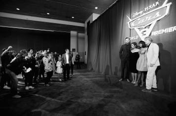 "ANAHEIM, CA - JUNE 10: (EDITORS NOTE: Image has been shot in black and white) (L-R) Actors Armie Hammer, Cristela Alonzo, Kerry Washington and Owen Wilson at the World Premiere of Disney/Pixarís ìCars 3"" at the Anaheim Convention Center on June 10, 2017 in Anaheim, California. (Photo by Charley Gallay/Getty Images for Disney) *** Local Caption *** Armie Hammer;Cristela Alonzo;Kerry Washington;Owen Wilson"