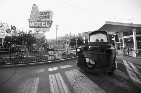 ANAHEIM, CA - JUNE 10: (EDITORS NOTE: Image has been shot in black and white) A view of the atmosphere at the after party for the World Premiere of Disney/Pixarís ìCars 3î at Cars Land at Disney California Adventure in Anaheim, CA. (Photo by Charley Gallay/Getty Images for Disney)