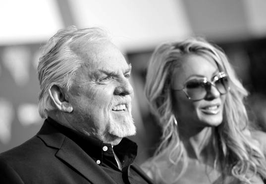 "ANAHEIM, CA - JUNE 10: (EDITORS NOTE: Image has been shot in black and white. Color version not available.) Actor John Ratzenberger (L) and Julie Blichfeldt pose at the World Premiere of Disney/Pixarís ìCars 3"" at the Anaheim Convention Center on June 10, 2017 in Anaheim, California. (Photo by Charley Gallay/Getty Images for Disney) *** Local Caption *** Julie Blichfeldt;John Ratzenberger"