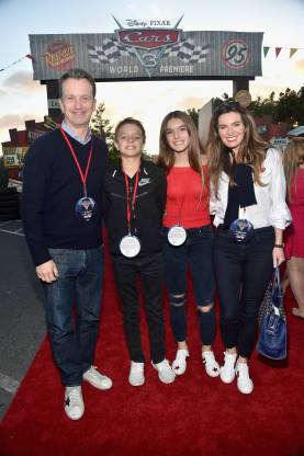 ANAHEIM, CA - JUNE 10: President of Walt Disney Studios Motion Picture Production, Sean Bailey (L) and family at the after party for the World Premiere of Disney/Pixarís ìCars 3î at Cars Land at Disney California Adventure in Anaheim, CA. (Photo by Alberto E. Rodriguez/Getty Images for Disney) *** Local Caption *** Sean Bailey