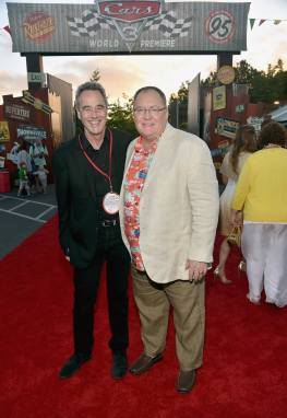 ANAHEIM, CA - JUNE 10: General Manager of Pixar Jim Morris (L) and executive producer John Lasseter pose at the after party for the World Premiere of Disney/Pixarís ìCars 3î at Cars Land at Disney California Adventure in Anaheim, CA. (Photo by Alberto E. Rodriguez/Getty Images for Disney) *** Local Caption *** Jim Morris;John Lasseter