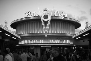 ANAHEIM, CA - JUNE 10: (EDITORS NOTE: Image has been shot in black and white. Color version not available.) A view of Flo's Cafe at the after party for the World Premiere of Disney/Pixarís ìCars 3î at Cars Land at Disney California Adventure in Anaheim, CA. (Photo by Charley Gallay/Getty Images for Disney)