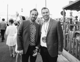 ANAHEIM, CA - JUNE 10: (EDITORS NOTE: Image has been shot in black and white) Recording artist Dan Auerbach (L) and Director Brian Fee at the after party for the World Premiere of Disney/Pixarís ìCars 3î at Cars Land at Disney California Adventure in Anaheim, CA. (Photo by Charley Gallay/Getty Images for Disney) *** Local Caption *** Dan Auerbach;Brian Fee