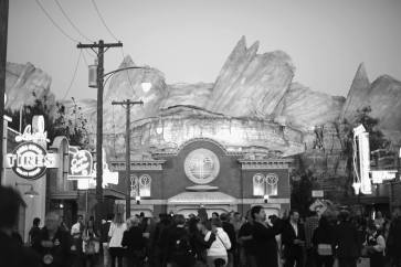 """ANAHEIM, CA - JUNE 10: (EDITORS NOTE: Image has been shot in black and white. Color version not available.) A view of """"Radiator Springs"""" at the after party for the World Premiere of Disney/Pixarís ìCars 3î at Cars Land at Disney California Adventure in Anaheim, CA. (Photo by Charley Gallay/Getty Images for Disney)"""