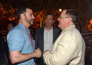 ANAHEIM, CA - JUNE 10: (L-R) TV personality Jimmy Kimmel, director Brian Fee, and executive producer John Lasseter attend the after party for the World Premiere of Disney/Pixarís ìCars 3î at Cars Land at Disney California Adventure in Anaheim, CA. (Photo by Alberto E. Rodriguez/Getty Images for Disney) *** Local Caption *** Brian Fee;John Lasseter;Jimmy Kimmel