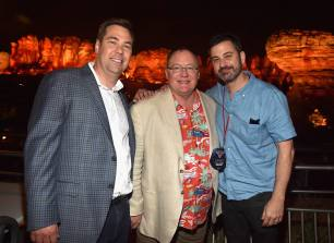 ANAHEIM, CA - JUNE 10: (L-R) Director Brian Fee, executive producer John Lasseter, and TV personality Jimmy Kimmel pose at the after party for the World Premiere of Disney/Pixarís ìCars 3î at Cars Land at Disney California Adventure in Anaheim, CA. (Photo by Alberto E. Rodriguez/Getty Images for Disney) *** Local Caption *** Brian Fee;John Lasseter;Jimmy Kimmel
