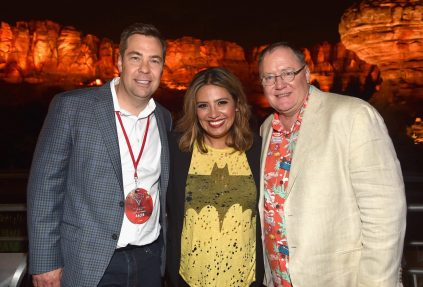 ANAHEIM, CA - JUNE 10: (L-R) Director Brian Fee, actor Cristela Alonzo, and executive producer John Lasseter pose at the after party for the World Premiere of Disney/Pixarís ìCars 3î at Cars Land at Disney California Adventure in Anaheim, CA. (Photo by Alberto E. Rodriguez/Getty Images for Disney) *** Local Caption *** Brian Fee;John Lasseter;Cristela Alonzo