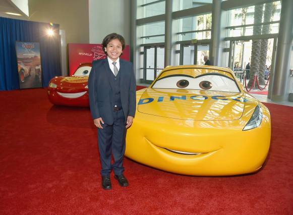 """ANAHEIM, CA - JUNE 10: Actor Anthony Gonzalez poses at the World Premiere of Disney/Pixarís ìCars 3"""" at the Anaheim Convention Center on June 10, 2017 in Anaheim, California. (Photo by Alberto E. Rodriguez/Getty Images for Disney) *** Local Caption *** Anthony Gonzalez"""