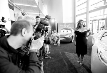 """ANAHEIM, CA - JUNE 10: (EDITORS NOTE: Image has been shot in black and white. Color version not available.) Actor Cristela Alonzo poses at the World Premiere of Disney/Pixarís ìCars 3"""" at the Anaheim Convention Center on June 10, 2017 in Anaheim, California. (Photo by Charley Gallay/Getty Images for Disney) *** Local Caption *** Cristela Alonzo"""