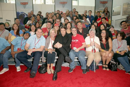 "ANAHEIM, CA - JUNE 10: Actor Nathan Fillion (C) poses with fans at the World Premiere of Disney/Pixarís ìCars 3"" at the Anaheim Convention Center on June 10, 2017 in Anaheim, California. (Photo by Jesse Grant/Getty Images for Disney) *** Local Caption *** Nathan Fillion"
