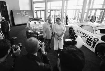 """ANAHEIM, CA - JUNE 10: (EDITORS NOTE: Image has been shot in black and white) Executive producer Nancy Lasseter (L) and Nancy Lasseter at the World Premiere of Disney/Pixarís ìCars 3"""" at the Anaheim Convention Center on June 10, 2017 in Anaheim, California. (Photo by Charley Gallay/Getty Images for Disney) *** Local Caption *** John Lasseter;Nancy Lasseter"""