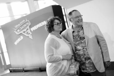 """ANAHEIM, CA - JUNE 10: (EDITORS NOTE: Image has been shot in black and white) Nancy Lasseter (L) and executive producer John Lasseter at the World Premiere of Disney/Pixarís ìCars 3"""" at the Anaheim Convention Center on June 10, 2017 in Anaheim, California. (Photo by Charley Gallay/Getty Images for Disney) *** Local Caption *** Nancy Lasseter;John Lasseter"""