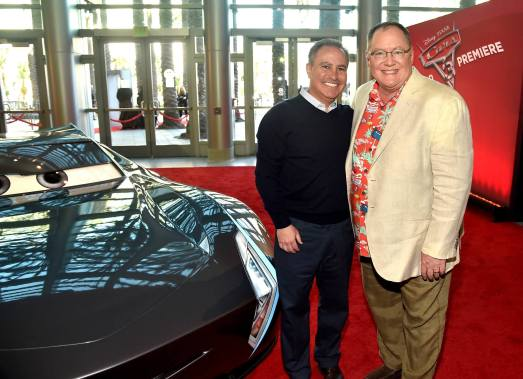 "ANAHEIM, CA - JUNE 10: Walt Disney Studios President Alan Bergman (L) and executive producer John Lasseter at the World Premiere of Disney/Pixarís ìCars 3"" at the Anaheim Convention Center on June 10, 2017 in Anaheim, California. (Photo by Alberto E. Rodriguez/Getty Images for Disney) *** Local Caption *** Alan Bergman;John Lasseter"