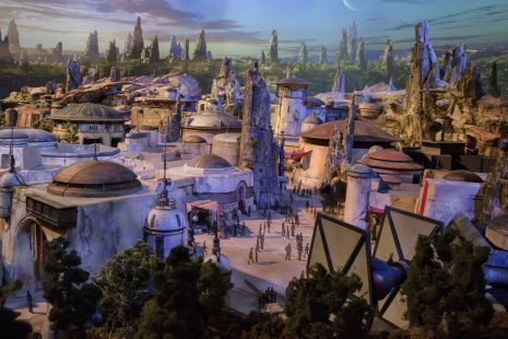 STAR WARS-THEMED LAND MODEL AT D23 EXPO — The epic, fully detailed model of the Star Wars-themed lands under development at Disneyland park in Anaheim, Calif. and Disney's Hollywood Studios in Orlando, Fla. remains on display in Walt Disney Parks and Resorts' 'A Galaxy of Stories' pavilion throughout D23 Expo at the Anaheim Convention Center. The stunning exhibition gives D23 Expo guests an up-close look at what's to come on this never-before seen planet. (Joshua Sudock/Disney Parks)
