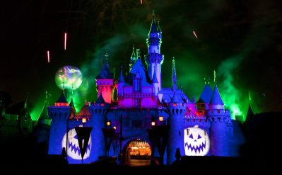 """MICKEY'S HALLOWEEN PARTY (ANAHEIM, Calif.) – Jack Skellington presides over the """"Halloween Screams"""" fireworks spectacular, which lights up the night sky surrounding Sleeping Beauty Castle at Disneyland park as part of the entertainment exclusive to the annual Mickey's Halloween Party. Returning for 14 nights in 2017, beginning Wednesday, Sept. 20, Mickey's Halloween Party is a time for guests to dress up for a ghoulish good time and enjoy seasonal scares such as Space Mountain Ghost Galaxy and Haunted Mansion Holiday. (Paul Hiffmeyer/Disneyland)"""