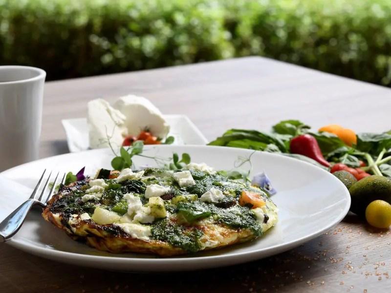 Egg White Vegetable Frittata with Macadamia Nut Pesto