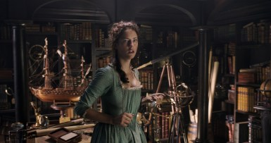 """PIRATES OF THE CARIBBEAN: DEAD MEN TELL NO TALES""..The villainous Captain Salazar (Javier Bardem) pursues Jack Sparrow (Johnny Depp) as he searches for the trident used by Poseidon..Pictured: Carina Smyth (Kaya Scodelario)..Ph: Film Frame..© Disney Enterprises, Inc. All Rights Reserved."