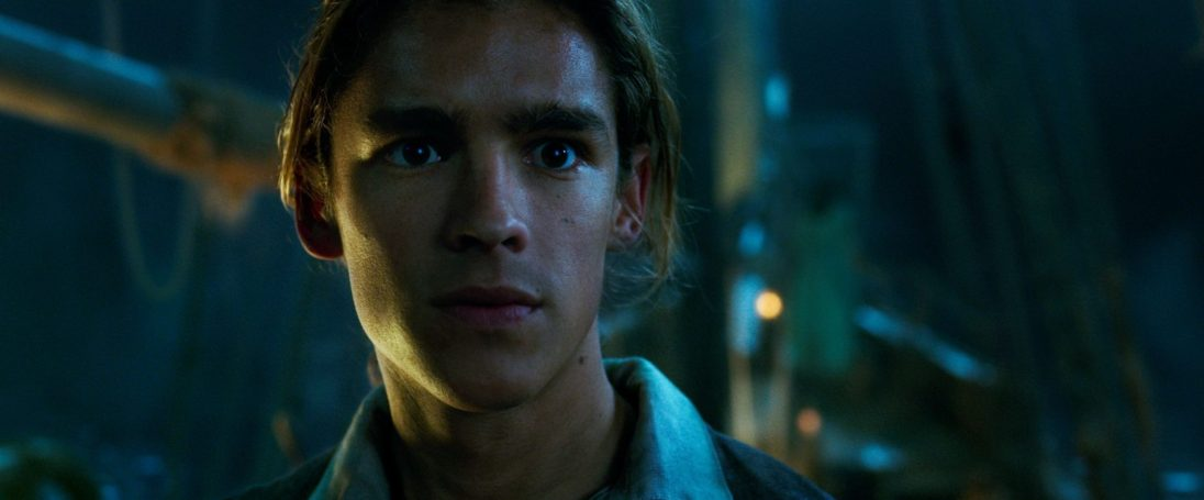 """PIRATES OF THE CARIBBEAN: DEAD MEN TELL NO TALES""..The villainous Captain Salazar (Javier Bardem) pursues Jack Sparrow (Johnny Depp) as he searches for the trident used by Poseidon..Pictured: Henry Turner (Brenton Thwaites)..Ph: Film Frame..© Disney Enterprises, Inc. All Rights Reserved."