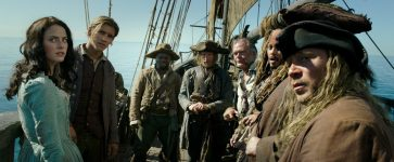 """""""PIRATES OF THE CARIBBEAN: DEAD MEN TELL NO TALES""""..The villainous Captain Salazar (Javier Bardem) pursues Jack Sparrow (Johnny Depp) as he searches for the trident used by Poseidon..Pictured L to R: Carina Smyth (Kaya Scodelario), Henry Turner (Brenton Thwaites), Pike (Delroy Atkinson), Cremble (Adam Brown), Gibbs (Kevin McNally), Captain Jack Sparrow (Johnny Depp) and Scrum (Stephen Graham)..Ph: Film Frame..© Disney Enterprises, Inc. All Rights Reserved."""