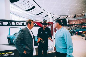 "CHARLOTTE, NC - SEPTEMBER 28: (L-R) Cars 3 Director Brian Fee, voice of ""The King""/NASCAR Retired Driver Richard ""The King"" Petty and Cars 3 Creative Director Jay Ward"
