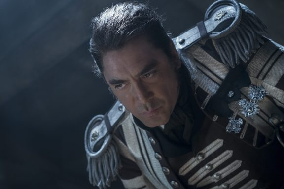 """""""PIRATES OF THE CARIBBEAN: DEAD MEN TELL NO TALES""""..The villainous Captain Salazar (Javier Bardem) pursues Jack Sparrow (Johnny Depp) as he searches for the trident used by Poseidon..Pictured: Captain Salazar (Javier Bardem)..Ph: Peter Mountain..© Disney Enterprises, Inc. All Rights Reserved."""
