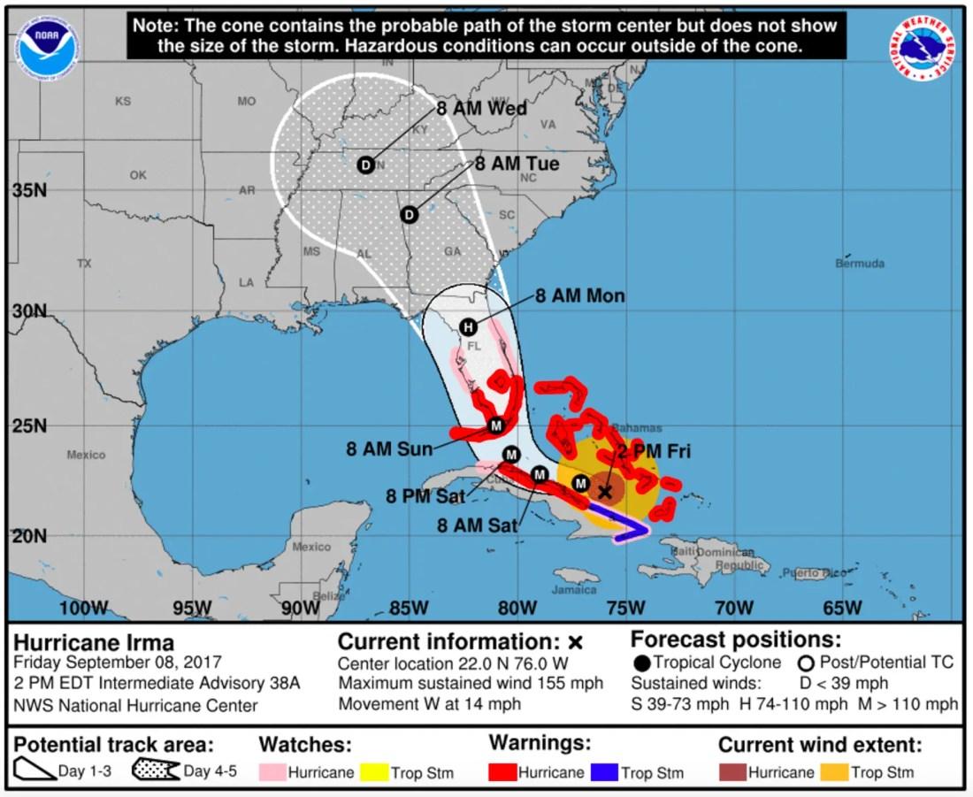Hurricane Irma Trajectory - September 8, 2017