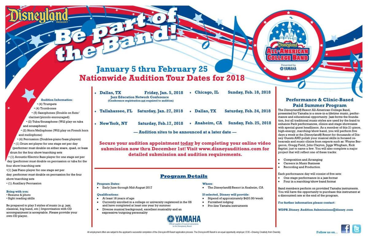 Pre-Auditions Begin for 2018 Disneyland Resort All-American College Band