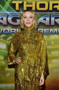 "HOLLYWOOD, CA - OCTOBER 10: Cate Blanchett at The World Premiere of Marvel Studios' ""Thor: Ragnarok"" at the El Capitan Theatre on October 10, 2017 in Hollywood, California. (Photo by Alberto E. Rodriguez/Getty Images for Disney) *** Local Caption *** Cate Blanchett"