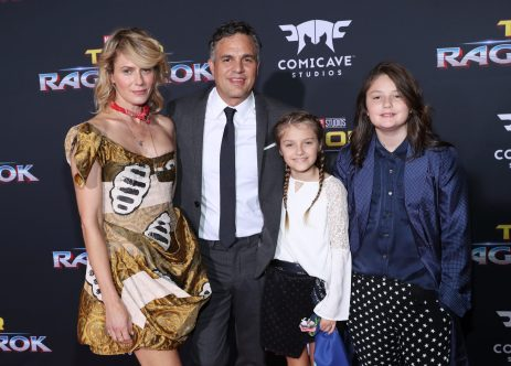 "HOLLYWOOD, CA - OCTOBER 10: (L-R) Actors Sunrise Coigney, Mark Ruffalo, Odette Ruffalo and Bella Noche Ruffalo at The World Premiere of Marvel Studios' ""Thor: Ragnarok"" at the El Capitan Theatre on October 10, 2017 in Hollywood, California. (Photo by Rich Polk/Getty Images for Disney) *** Local Caption *** Sunrise Coigney; Mark Ruffalo; Odette Ruffalo; Bella Noche Ruffalo"