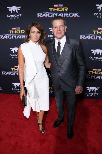 """HOLLYWOOD, CA - OCTOBER 10: Luciana Barroso (L) and actor Matt Damon at The World Premiere of Marvel Studios' """"Thor: Ragnarok"""" at the El Capitan Theatre on October 10, 2017 in Hollywood, California. (Photo by Rich Polk/Getty Images for Disney) *** Local Caption *** Luciana Barroso; Matt Damon"""