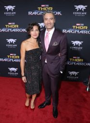 """HOLLYWOOD, CA - OCTOBER 10: Producer Chelsea Winstanley (L) and director Taika Waititi at The World Premiere of Marvel Studios' """"Thor: Ragnarok"""" at the El Capitan Theatre on October 10, 2017 in Hollywood, California. (Photo by Rich Polk/Getty Images for Disney) *** Local Caption *** Chelsea Winstanley; Taika Waititi"""