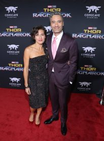 "HOLLYWOOD, CA - OCTOBER 10: Producer Chelsea Winstanley (L) and director Taika Waititi at The World Premiere of Marvel Studios' ""Thor: Ragnarok"" at the El Capitan Theatre on October 10, 2017 in Hollywood, California. (Photo by Rich Polk/Getty Images for Disney) *** Local Caption *** Chelsea Winstanley; Taika Waititi"