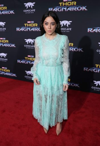 """HOLLYWOOD, CA - OCTOBER 10: Actor Chloe Bennet at The World Premiere of Marvel Studios' """"Thor: Ragnarok"""" at the El Capitan Theatre on October 10, 2017 in Hollywood, California. (Photo by Rich Polk/Getty Images for Disney) *** Local Caption *** Chloe Bennet"""