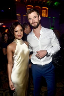 """HOLLYWOOD, CA - OCTOBER 10: Actors Tessa Thompson (L) and Chris Hemsworth at The World Premiere of Marvel Studios' """"Thor: Ragnarok"""" at the El Capitan Theatre on October 10, 2017 in Hollywood, California. (Photo by Alberto E. Rodriguez/Getty Images for Disney) *** Local Caption *** Tessa Thompson; Chris Hemsworth"""