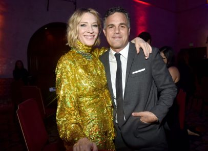 """HOLLYWOOD, CA - OCTOBER 10: Actros Cate Blanchett (L) and Mark Ruffalo at The World Premiere of Marvel Studios' """"Thor: Ragnarok"""" at the El Capitan Theatre on October 10, 2017 in Hollywood, California. (Photo by Alberto E. Rodriguez/Getty Images for Disney) *** Local Caption *** Cate Blanchett; Mark Ruffalo"""