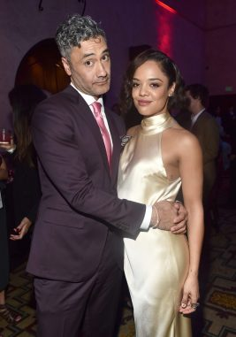 """HOLLYWOOD, CA - OCTOBER 10: Director Taika Waititi (L) and actor Tessa Thompson at The World Premiere of Marvel Studios' """"Thor: Ragnarok"""" at the El Capitan Theatre on October 10, 2017 in Hollywood, California. (Photo by Alberto E. Rodriguez/Getty Images for Disney) *** Local Caption *** Taika Waititi; Tessa Thompson"""