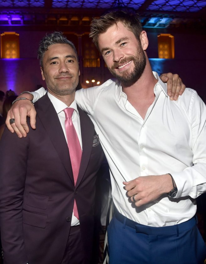 "HOLLYWOOD, CA - OCTOBER 10: Director Taika Waititi (L) and actor Chris Hemsworth at The World Premiere of Marvel Studios' ""Thor: Ragnarok"" at the El Capitan Theatre on October 10, 2017 in Hollywood, California. (Photo by Alberto E. Rodriguez/Getty Images for Disney) *** Local Caption *** Taika Waititi; Chris Hemsworth"