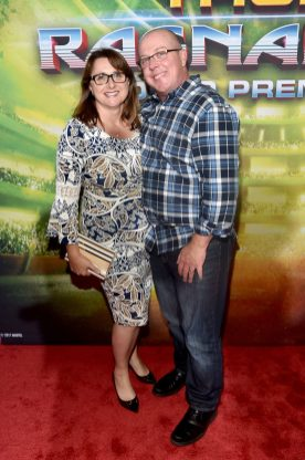 "HOLLYWOOD, CA - OCTOBER 10: Executive producer Victoria Alonso (L) and writer Craig Kyle at The World Premiere of Marvel Studios' ""Thor: Ragnarok"" at the El Capitan Theatre on October 10, 2017 in Hollywood, California. (Photo by Alberto E. Rodriguez/Getty Images for Disney) *** Local Caption *** Craig Kyle; Victoria Alonso"