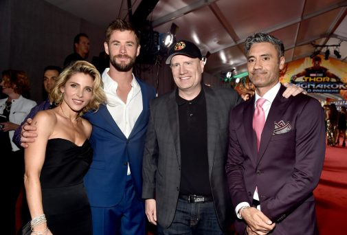 "HOLLYWOOD, CA - OCTOBER 10: (L-R) Elsa Pataky, actor Chris Hemsworth, producer Kevin Feige, and director Taika Waititi at The World Premiere of Marvel Studios' ""Thor: Ragnarok"" at the El Capitan Theatre on October 10, 2017 in Hollywood, California. (Photo by Alberto E. Rodriguez/Getty Images for Disney) *** Local Caption *** Chris Hemsworth; Elsa Pataky; Kevin Feige; Taika Waititi"