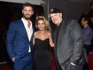 "HOLLYWOOD, CA - OCTOBER 10: (L-R) Actor Chris Hemsworth, Elsa Pataky, and producer Kevin Feige at The World Premiere of Marvel Studios' ""Thor: Ragnarok"" at the El Capitan Theatre on October 10, 2017 in Hollywood, California. (Photo by Alberto E. Rodriguez/Getty Images for Disney) *** Local Caption *** Chris Hemsworth; Elsa Pataky; Kevin Feige"