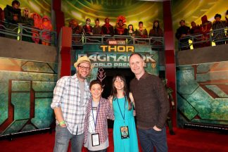 """HOLLYWOOD, CA - OCTOBER 10: Composers Michael Giacchino ( L) and Tom MacDougall (R) at The World Premiere of Marvel Studios' """"Thor: Ragnarok"""" at the El Capitan Theatre on October 10, 2017 in Hollywood, California. (Photo by Jesse Grant/Getty Images for Disney) *** Local Caption *** Tom MacDougall; Michael Giacchino"""