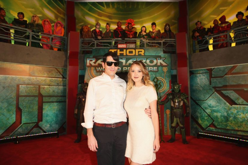 "HOLLYWOOD, CA - OCTOBER 10: Actor David Dastmalchian (L) and Evelyn Leigh at The World Premiere of Marvel Studios' ""Thor: Ragnarok"" at the El Capitan Theatre on October 10, 2017 in Hollywood, California. (Photo by Jesse Grant/Getty Images for Disney) *** Local Caption *** Evelyn Leigh; David Dastmalchian"