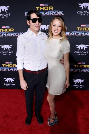 """HOLLYWOOD, CA - OCTOBER 10: Actor David Dastmalchian (L) and Evelyn Leigh at The World Premiere of Marvel Studios' """"Thor: Ragnarok"""" at the El Capitan Theatre on October 10, 2017 in Hollywood, California. (Photo by Rich Polk/Getty Images for Disney) *** Local Caption *** Evelyn Leigh; David Dastmalchian"""