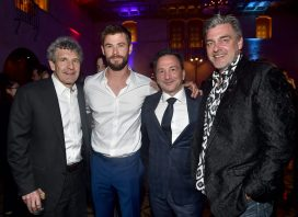 """HOLLYWOOD, CA - OCTOBER 10: (L-R) Chairman, The Walt Disney Studios, Alan Horn , actor Chris Hemsworth, Executive producer Louis D'Esposito, and actor Ray Stevenson at The World Premiere of Marvel Studios' """"Thor: Ragnarok"""" at the El Capitan Theatre on October 10, 2017 in Hollywood, California. (Photo by Alberto E. Rodriguez/Getty Images for Disney) *** Local Caption *** Alan Horn; Ray Stevenson; Louis D'Esposito; Chris Hemsworth"""