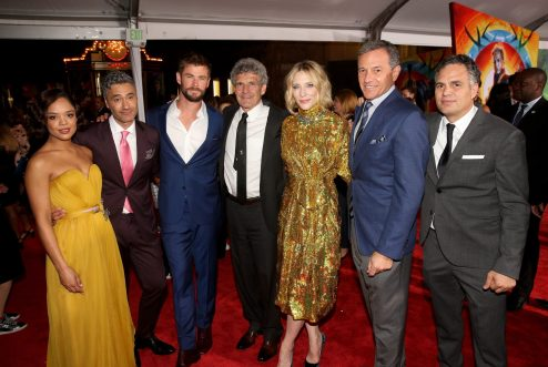 "HOLLYWOOD, CA - OCTOBER 10: (L-R) Actor Tessa Thompson, Director Taika Waititi, Actor Chris Hemsworth, Chairman, The Walt Disney Studios, Alan Horn, Actor Cate Blanchett, The Walt Disney Company Chairman and CEO, Bob Iger and Actor Mark Ruffalo at The World Premiere of Marvel Studios' ""Thor: Ragnarok"" at the El Capitan Theatre on October 10, 2017 in Hollywood, California. (Photo by Jesse Grant/Getty Images for Disney) *** Local Caption *** Tessa Thompson; Taika Waititi; Chris Hemsworth; Alan Horn; Cate Blanchett; Bob Iger; Mark Ruffalo"