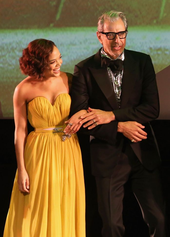 "HOLLYWOOD, CA - OCTOBER 10: Actors Tessa Thompson (L) and Jeff Goldblum at The World Premiere of Marvel Studios' ""Thor: Ragnarok"" at the El Capitan Theatre on October 10, 2017 in Hollywood, California. (Photo by Jesse Grant/Getty Images for Disney) *** Local Caption *** Tessa Thompson; Jeff Goldblum"